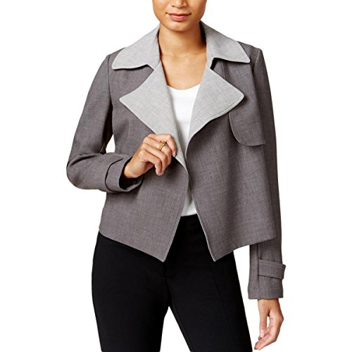 Tommy Hilfiger Womens Contrast Trim Long Sleeves Open-Front Blazer Gray - Tommy Sale Women Hilfiger
