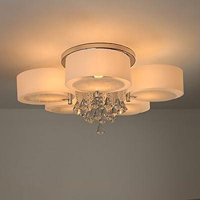 NATSEN Crystal Ceiling Light Metal Flush Mount Ceiling Light Fixture for Bedroom Living Room Dining Room 5-Lights