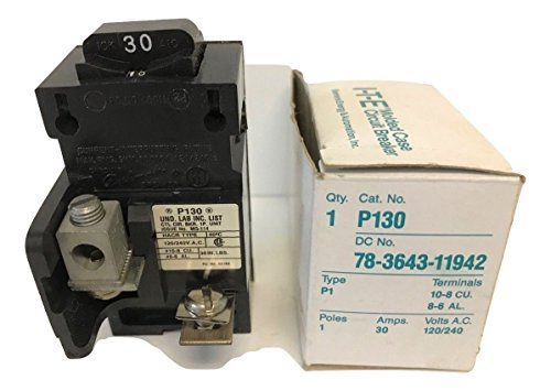 1- P130 Siemens Pushmatic Bulldog ITE- P Frame, 1 Pole, 120 Volt, 30 Amp, Molded Case Circuit Breaker 30A 1P ()