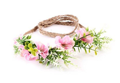 Crown Tie (DDazzling Tieback Flower Crown Headband Floral Crown Wreath (Pink))