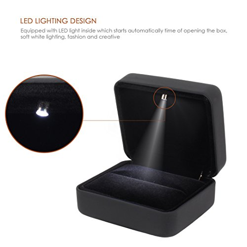 Naimo Velvet Engagement Ring LED Light Jewelry Gift Box (Black) by Naimo (Image #2)