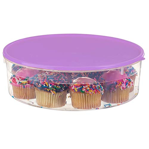 Zilpoo Plastic Pie Carrier with Lid, 10.5', Cupcake Container, Muffin, Cookies, Cake Holder, Round Freezer Storage Food Keeper with Cover, Purple