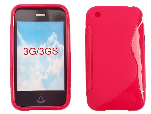 Gummihülle, Hülle für Apple iPhone 3, 3G, 3GS, Rot, Silikonhülle, Silikon, Gummi Hülle, Schale
