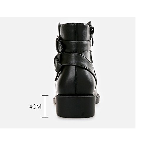 Plat Des Bottines Sur Bottes Noir Glisser Les Femmes Geerbu Talon Cuir En En 1 Pour Noires Bottes Pq8wvrPB