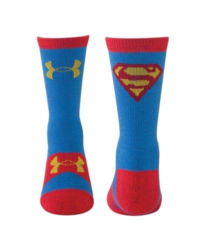 Under Armour Boy's Super Hero Superman Crew (Little Kid/Big Kid) Blue/Yellow Socks