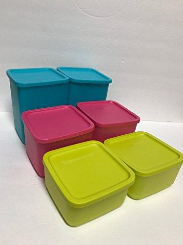 Tupperware 6pc Large Square Round Freezer Container set Aqua, Pink, Margarita