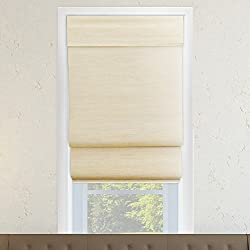 "CHICOLOGY Cordless Double Layered Roman Shades Jute Fabric Window Blind 36"" W X 64"" H Abaca Cream (Natural Woven)"