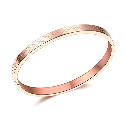 (Carffany Oval High Polished Stainless Steel Bangle Bracelet Tri Color Rose Gold Tone/Gold Tone/White Silver Tone 7.5 Inches for Women Men Unisex (Rose Gold))