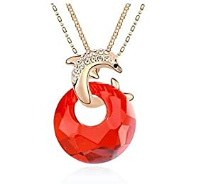 Saphira bisutería. Colgante dorado con cadena de collar. cristal rojo austriaco Swarovski element y delfines