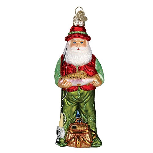 (Old World Christmas Ornaments: Fly Fishing Santa Glass Blown Ornaments for Christmas)