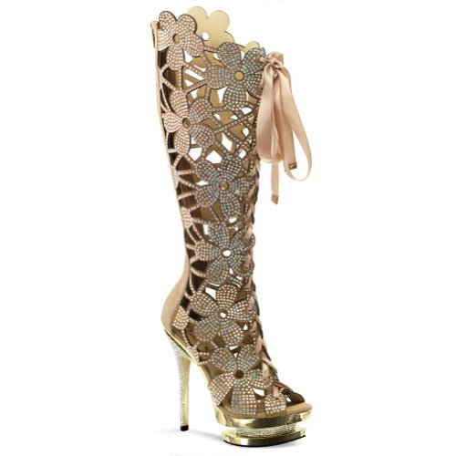 6 Inch Flower Cut Out Rhinestone Boots Women's Designer High Heel Boots Size: 11 by Pleaser