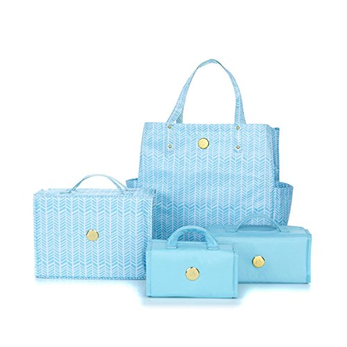 JOY Deluxe 4-piece Better Beauty Case Set with Big Shopper Tote (Crystal Blue Herringbone) by Joy Mangano