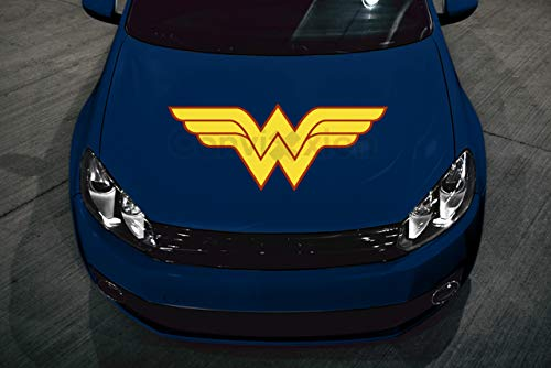 Classic Wonder Woman Car Hood Decal | Full Color Red & Golden Yellow | 32