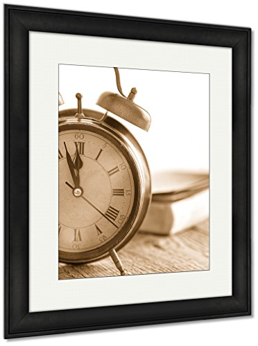 Ashley Framed Prints Clock And Bible On Wood, Wall Art Home Decoration, Sepia, 40x34 (frame size), Black Frame, AG5500789 by Ashley Framed Prints