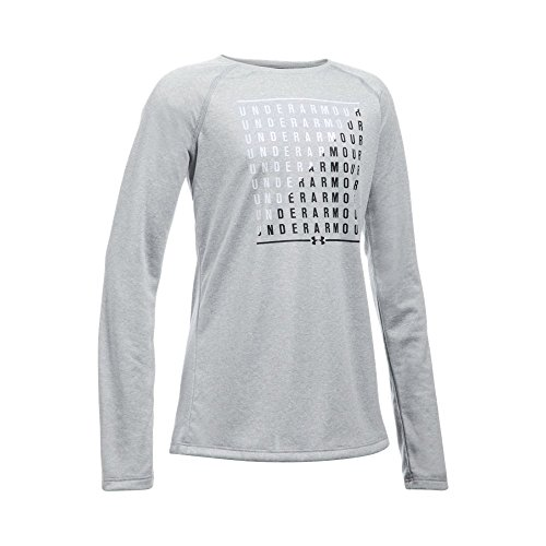 Under Armour Girls' Slash Long Sleeve, True Gray Heather/White, Youth Small