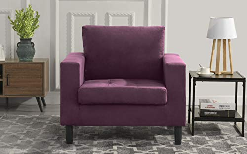 Mid Century Modern Tufted Velvet Armchair, Living Room Chair (Purple)