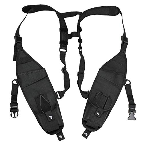 abcGoodefg Universal Double Radio Shoulder Holster Chest Harness Holder Vest Rig for Two Way Radio Rescue Essentials ()