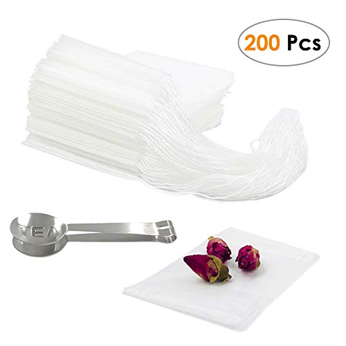 (Cloudyfocus Disposable Tea Filter Bags - Pack of 200, Empty Drawstring Tea Infuser Bag with Tea Clip Spoon for Loose Leaf Tea & Herb(2.4in3.2in))