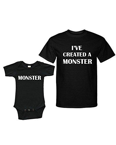 Matching Set -I've created a MONSTER - Short Sleeve Onesie & Adult Unisex T-Shirt (Baby 12-18m + Adult Large , Black/Black )