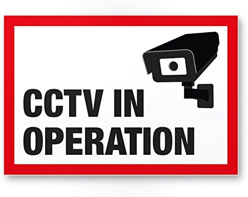 CCTV Cartel (Blanco de rojo, 30 x 20 cm) - Atención/Vorsicht ...