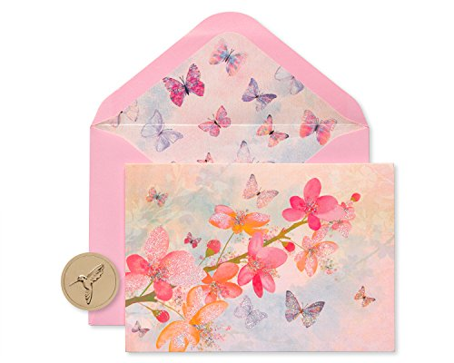 - Papyrus Scattered Blossoms Boxed Blank Note Cards with Glitter, 12-Count