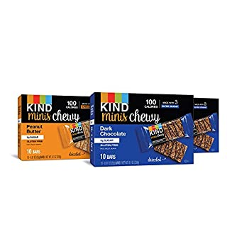KIND Bar Minis, Chewy Bar Variety Pack, 20 Dark Chocolate, 10 Peanut Butter, 100 Calories, Low Sugar 30 Count