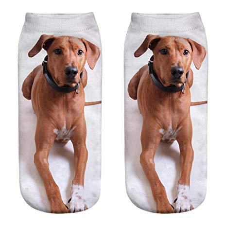 Womens Casual Novelty Cute Socks No Show 3D Crazy Animal Cartoon Printed Print Ankle Socks by aihihe (4I)