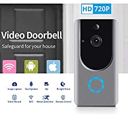 Smart Wireless Wifi Video Doorbell Hd Security Camera With Pir Motion Detection Night Vision Two Way Talk And Real Time Video Suitable Etc Grey Video Door Bell