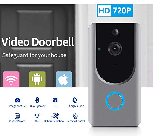 Smart Wireless WiFi Video Doorbell HD Security Camera with PIR Motion Detection Night Vision Two-Way Talk and Real-time Video Suitable etc ... (Grey) (Video Door Bell) ()