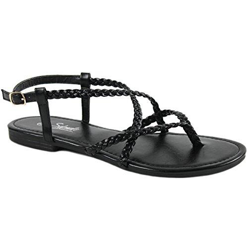 ided Strappy Gladiator Thong T Strap Flat Sandals (6 B(M) US, Black) ()