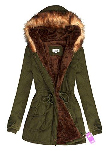 Maniche Donna 4HOW lunghe mao Collo Basic Green Cappotto Olive HqyvfA