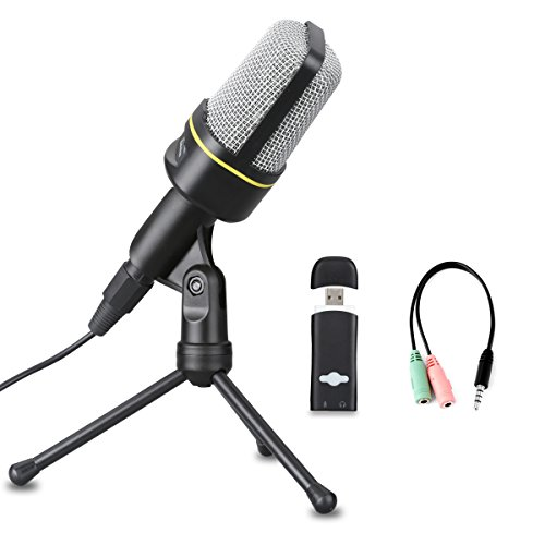 Directional Switch Omni (Excelvan Condenser Microphone Black SF-920 3.5mm Desktop Microphone with Volume Control and Tripod Stand Broadcasting Recording Podcasting Studio Mic for Mobile Phones, Laptops, Desktop (Black))