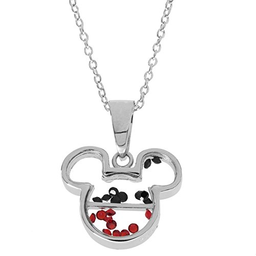 Disney Women's and Girls Jewelry Mickey Mouse Sterling Silver Crystal Head Silhouette Shaker Pendant,18