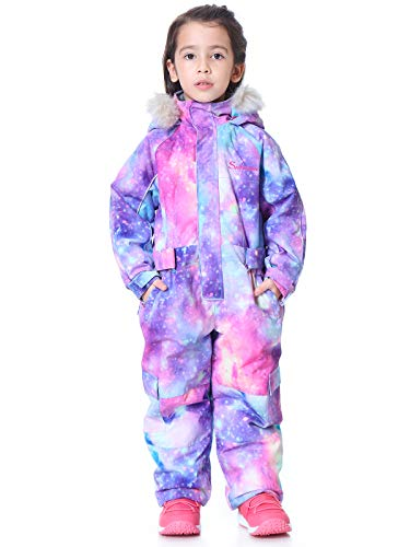 SNBOCON Kids Waterproof Colorful One Piece Coveralls Ski Suits Snowsuits Winter Jumpsuits Snowboarding (120,PPL)