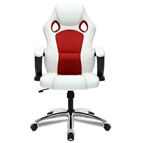 GoYisi WKJ-104 0653 dator kontorsstol hem spelstol roterande lyft stol med aluminiumlegering fötter (svart) (färg: vit) röd