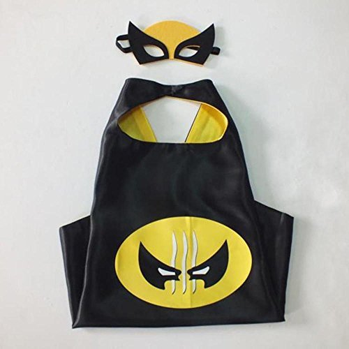 Real Wolverine Costumes (Superhero Halloween Party Cape and Mask Set for Kids Wolverine)