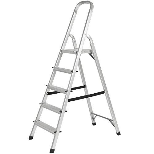 Best Choice Products 330lbs Aluminum Foldable 5 Step Non-slip Ladder Lightweight Kitchen Garage