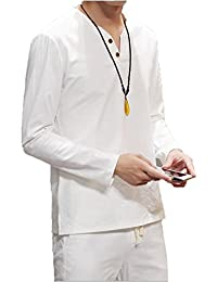 Men's Casual Long Sleeve Solid Linen Cotton V Neck Henley T-Shirts