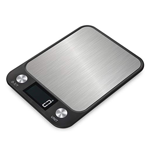 JDgoods Digital Kitchen Multifunction Food Scale, Balance Slim Stainless Steel Electronic Scales with Large Back-lit LCD Display for Baking & Cooking (5KG)