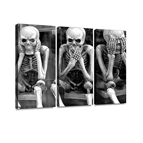 Skeletons Funny Hear no Evil Speak no Evil See no Evil Expression Print On Canvas Wall Artwork Modern Photography Home Decor Unique Pattern Stretched and Framed 3 Piece (Hear No Evil Posters)