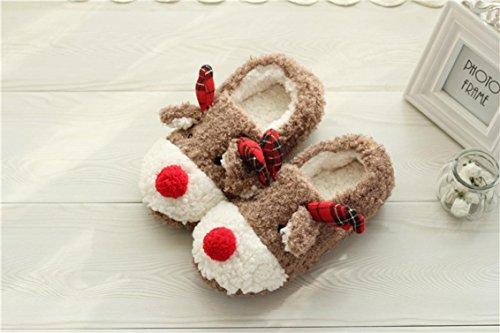 Pantofole Casa Invernale In Pile Ragazze Natale Alce Pantofole In Cotone Scarpe Antiscivolo Scarpe Outdoor Indoor Per Le Donne