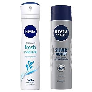 NIVEA Deodorant, Fresh Natural, 150ml And NIVEA Men Deodorant, Silver Protect, 150ml