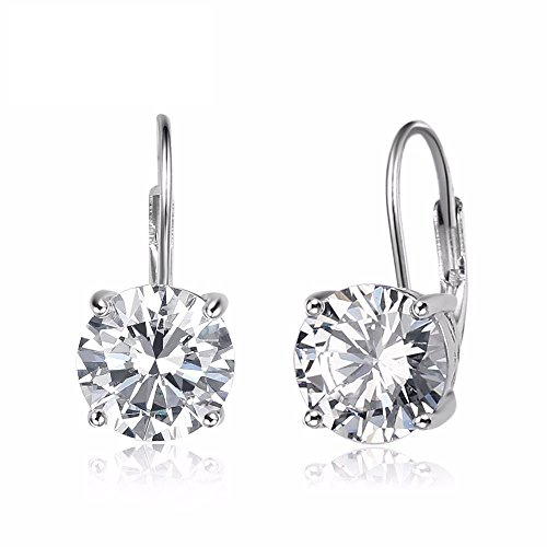 925 Sterling Silver Round Cut Cubic Zirconia Solitaire Leverback Earrings