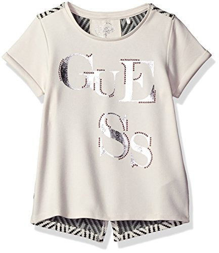 GUESS Little Girls' Short Sleeve Logo Tee with Zig Zag Print Back Panel, Eggshell, 6