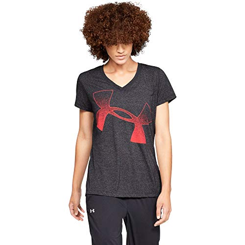 - Under Armour Women's Threadborne Short sleeve V Graphic, Charcoal (019)/After Burn, Large