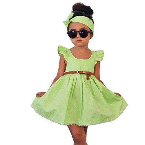 Girls Green Toddler (FEITONG 2017 Toddler Kid Baby Girl Outfit Clothes 3Pcs Bowknot Princess Dresses+Belt+Headband (3-4 Years, Green))