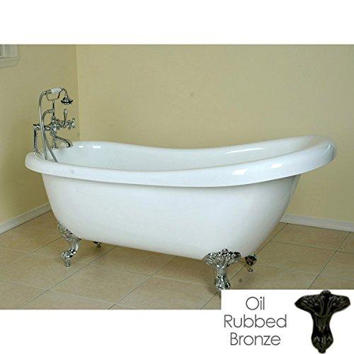 Randolph Morris 67 Inch Acrylic Slipper Clawfoot Tub - Rim Faucet Drillings - Imperial Ball & Claw (Acrylic Clawfoot Slipper Tub Rim)