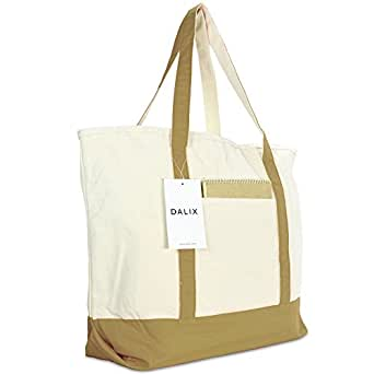 """22"""" Heavy Duty Cotton Canvas Tote Bag (Zippered) (Brown)"""