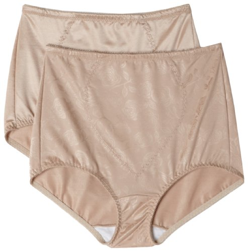 Bali Women's Shapewear Tummy Panel Brief Firm Control 2-Pack, Nude Deluster, 3X (Firm Womens Shapewear Control)