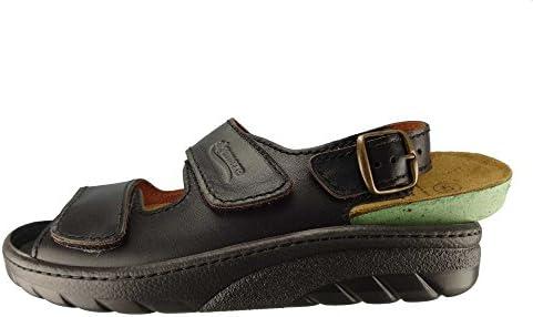 Algemare Herren Sandalette Nappaleder Algen-Kork Wechselfußbett waschbar 7618_0101 Trekking Sandale Fußbettpantolette, Größe:46 EU